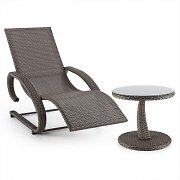 Blumfeldt Daybreak Swing Lounger + Table Set Wicker Optics Taupe
