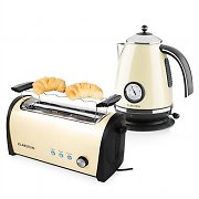 Klarstein Cambridge Breakfast Set Cream/Beige 2200W Kettle 1,7L | 1400W Toaster