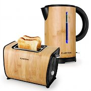 Klarstein Bamboo Garden Breakfast Set Small Kettle |  Toaster | Bamboo