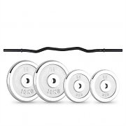 CAPITAL SPORTS weight disc set 30kg with curlbar 2 x 5 kg + 2 x 10 kg