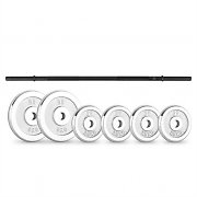 CAPITAL SPORTS weight disc set 15kg with straightbar 4 x 2.5 kg + 2 x 5 kg