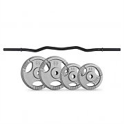 CAPITAL SPORTS Weight Disc Curl Bar Set 30 kg | 4 Weights Curl Bar
