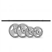 CAPITAL SPORTS Weight Plates Straight Bar Set 30 kg 4 Weights Straight Bar