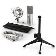 auna MIC-900S USB Microphone Set V1 | Silver Condenser Microphone Tabletop Stand