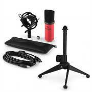 auna MIC-900RD USB Microphone Set V1 | Red Condenser Microphone | Tabletop Stand