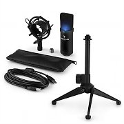 auna MIC-900B-LED USB Microphone Set V1 | Black Condenser Microphone Tabletop Stand