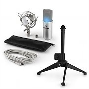 auna MIC-900S-LED USB Microphone Set V1 | Silver Condenser Microphone Tabletop Stand