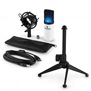 auna MIC-900WH-LED USB Microphone Set V1 | WHITE Condenser Microphone Tabletop Stand