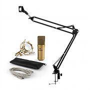 auna MIC-900G USB Microphone Set V3 Condenser Microphone + Microphone Arm Cardioid Gold