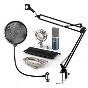 auna MIC-900BL USB Microphone Set V4 Condenser Design Pop-Protection Microphone Arm blue