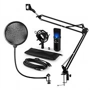 auna MIC-900B-LED USB Microphone Set V4 Condenser Microphone Pop-Protection Microphone arm LED
