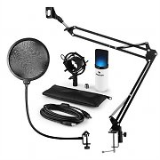auna MIC-900WH-LED USB Microphone Set V4 Condenser Microphone Pop-Protection Microphone arm LED white