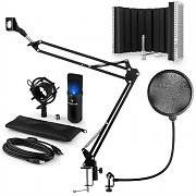 auna MIC-900B-LED USB Microphone Set V5 Condenser Microphone Pop-Protection Screen Arm black