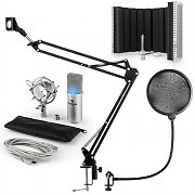 auna MIC-900S-LED USB Microphone Set V5 Condenser Microphone Pop-Protection Screen Arm silver