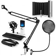auna MIC-900WH-LED USB Microphone Set V5 Condenser Pop Screen Arm LED White
