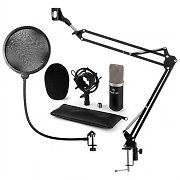 auna CM003 Microphone Set V4 Condenser Microphone XLR Microphone Arm POP Protection Black