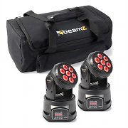 beamZ Light Effect Set 2x MHL-74 Moving Head Mini Wash & 1x Soft Case