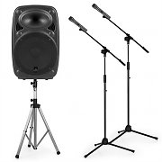 "auna Streetstar 12 Mobile PA System Set 12"" PA Speaker Stand 2 x Microphone Stand"