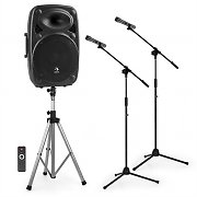 """auna Streetstar 15 Mobile PA system 2x Microphone Stands Set 15"""" PA System"""