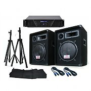 "'Soundsaver' PA System - 10"" DJ Equipment Disco Speakers, Amp, Stands 640W Max"