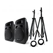 "Best-4-Music Skytec 12"" Active PA Speakers with Tripod Stands + Bag"