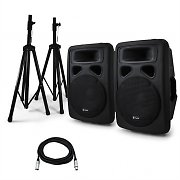 "Pair Skytec Active 15"" Inch PA Speakers with Tripod Stands 1600W"