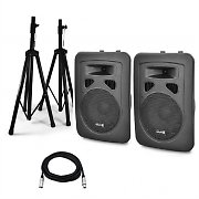 "Skytec 8"" Active PA Speakers with Tripod Stands + Bag"