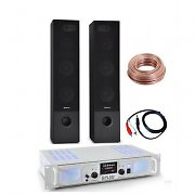 Hi-Fi 500W Black Tower Speakers Home Stereo Amplifier USB SD AUX