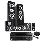 "HiFi System ""Custom HD"" 1200W 5 Speaker Home Cinema Surround Sound Black Edition"