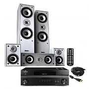 HiFi System &quot;Custom HD&quot; 1200W 5 Speaker Home Cinema Surround Sound Silver Edition