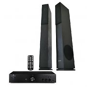 "HiFi System ""Elegance"" - 600W Amplifier & Slim Black Tower Speakers"