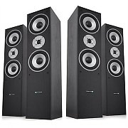 Ash Black / Silver Home Hifi Cinema Theatre Surround Tower Speakers 1400W