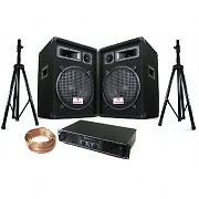 "DJ ""Boston"" PA Set 600W 12"" Speakers Amplifier Tripod Stands + Bag"