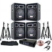 Professional PA System 2400W Speakers &amp; Amplifier Package + 25m Speaker Cable
