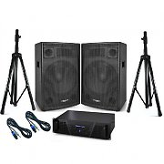 "PA System ""Copperhead"" 1600W DJ Package -  Amplifier, Speakers & Stands"