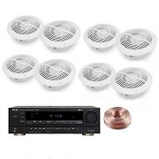 4 Pairs 80W Waterproof Ceiling Speakers with Amplifier &amp; 100m Cable
