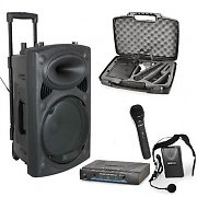 12 Inch Active Portable PA System VHF Mics & Headset
