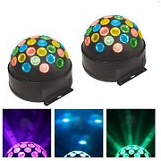 Beamz Fireball LED Multi Coloured Disco Mirror Balls Bundle Pair