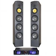 Hifi Tower 600w Home Cinema Full range Tower Speakers MP3 USB SD Amp Bundle