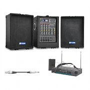 "Portable 2 x 75 Watt RMS 8"" Speakers Wireless Microphone PA Set USB SD"