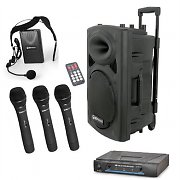 "QTX 15"" Active Portable PA Speaker System with Wireless Microphone Set"