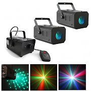 Beamz Mini Sky LED Light with Smoke Machine - DJ Disco Party Lighting Bundle