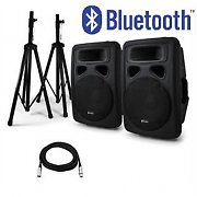 "Pair Active 15"" Inch PA Speakers with Bluetooth Interface & Tripod Stands - 1600W"