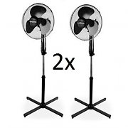 2x Klarstein Oscillating Blizzard Pedestal Fans 50W Power 3 Speeds Black
