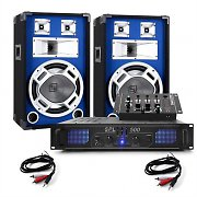 Complete PA System &quot;Skylar&quot; Skytec Amplifier 12&quot; PA Speakers DJ Mixer 1200W