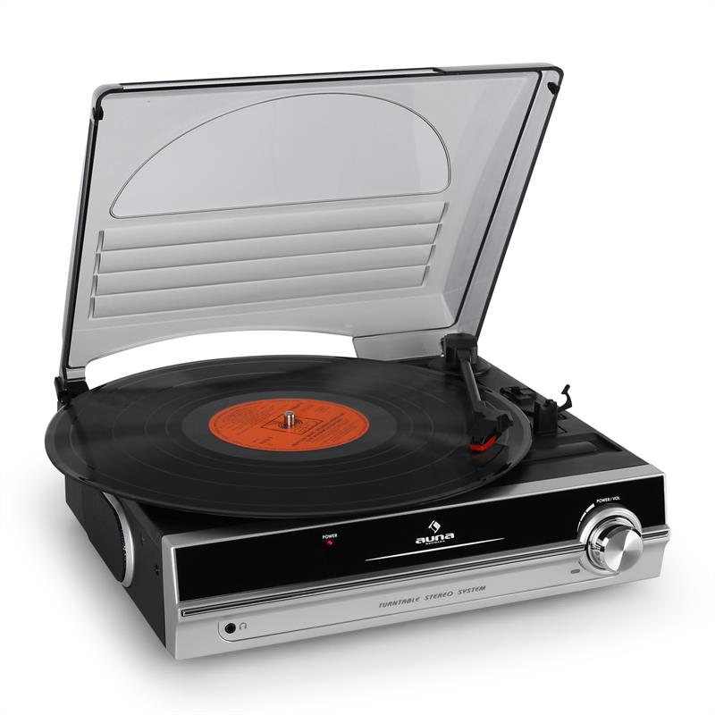 Auna TBA-298 Portable Turntable LP Player Built-in Speakers: Click to enlarge image!