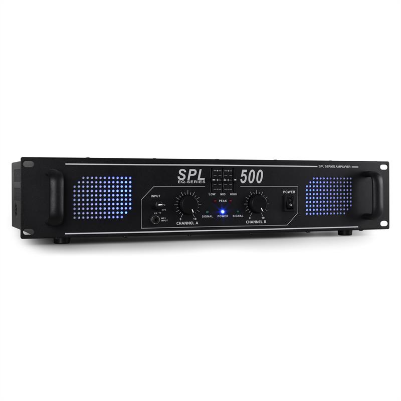 Skytec SPL500 Watt DJ PA Amplifier EQ Hi-Fi Audio Amp: Click to enlarge image!
