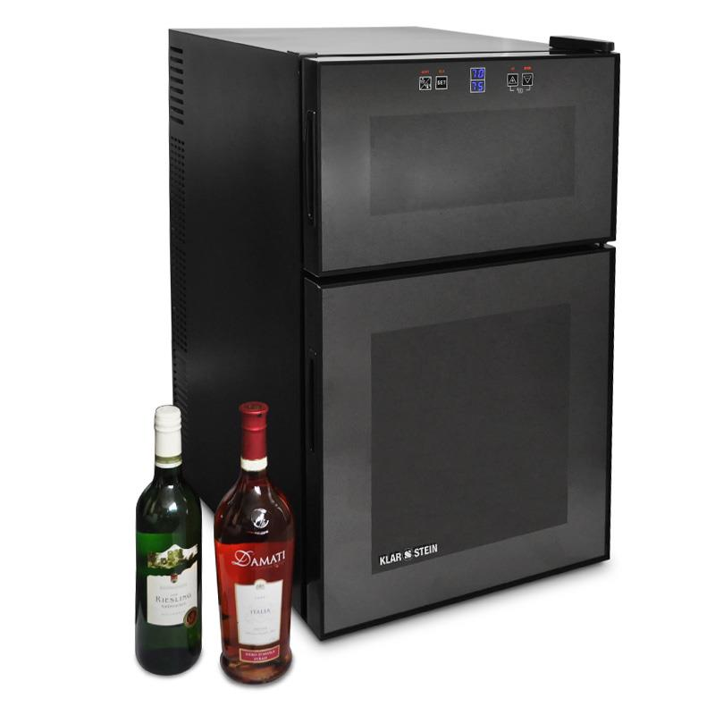 24 Bottle Wine Cooler Dual Climate Drink Chiller Modern