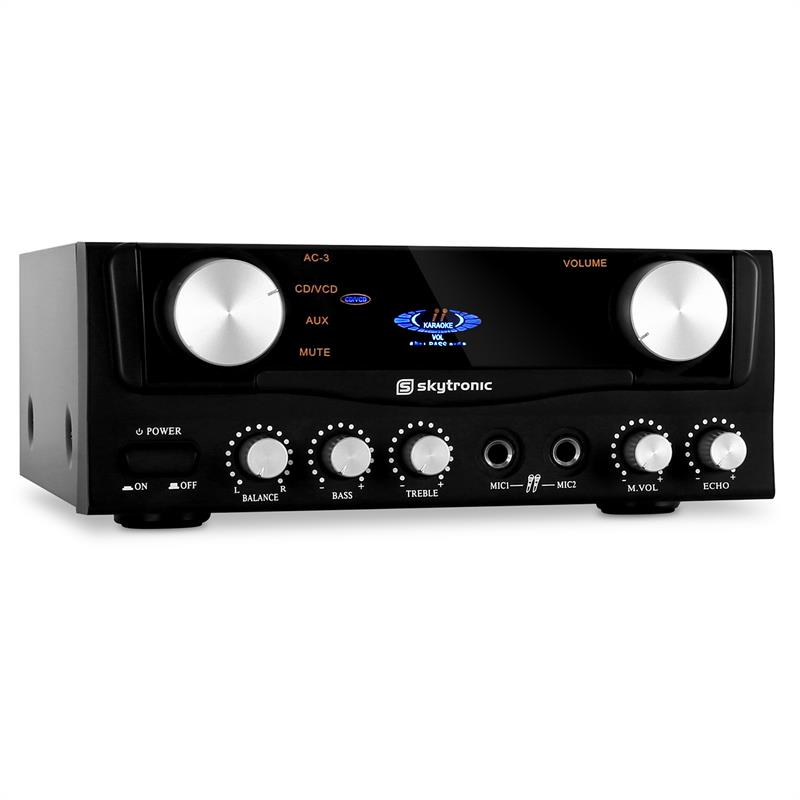 Skytronic 103.202 Compact Hi-Fi PA Karaoke Amplifier 2x Mic Inputs 400W: Click to enlarge image!