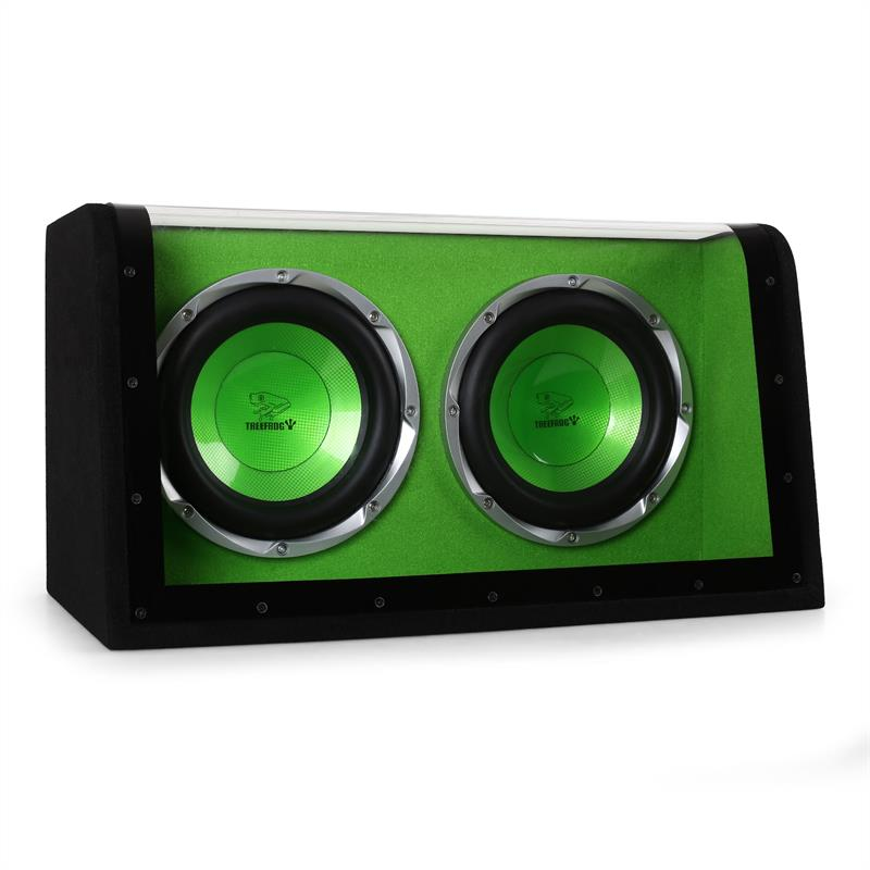 "Treefrog BX10DW Double 10"" Car Subwoofer Box 1200W Green: Click to enlarge image!"